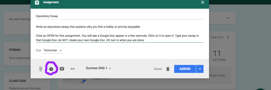 Using Google Docs with the Google Classroom