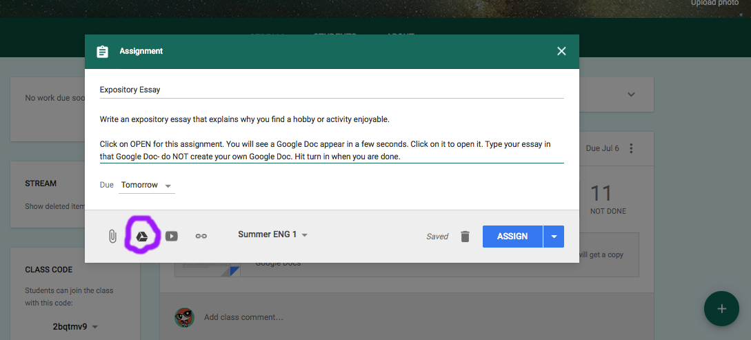Google Doc to Google Classroom